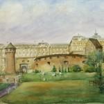 Budai vár (Szarvas tér felöl) 1996 Akvarell