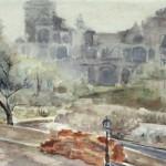 Budai vár (részlet) 1956 (forradalom alatt) Akvarell