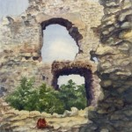 Csesznek várrészlet 1989 Akvarell