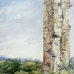 Nógrád falrészlet 1990 Akvarell